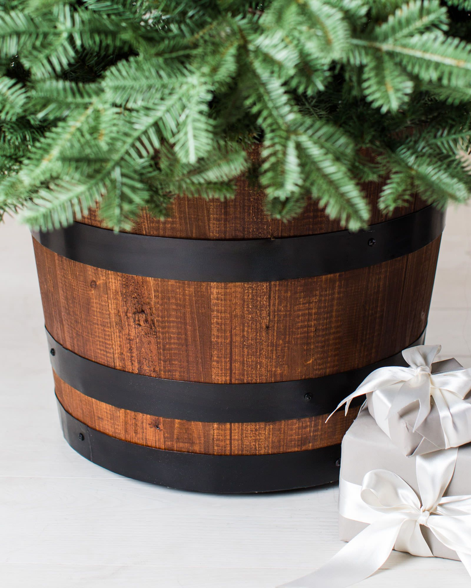 Wine Barrel Artificial Tree Stand