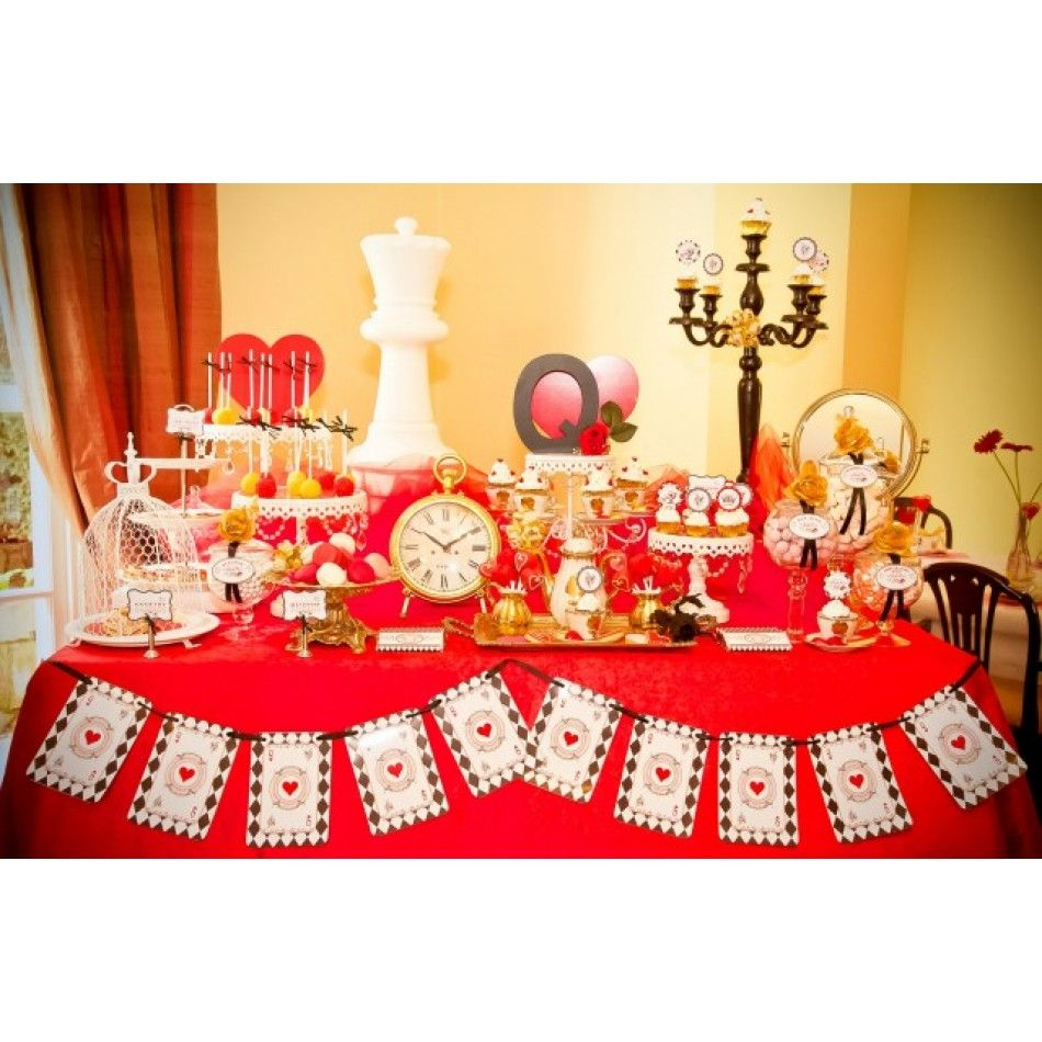 queen of hearts wonderland bridal shower party printables collection