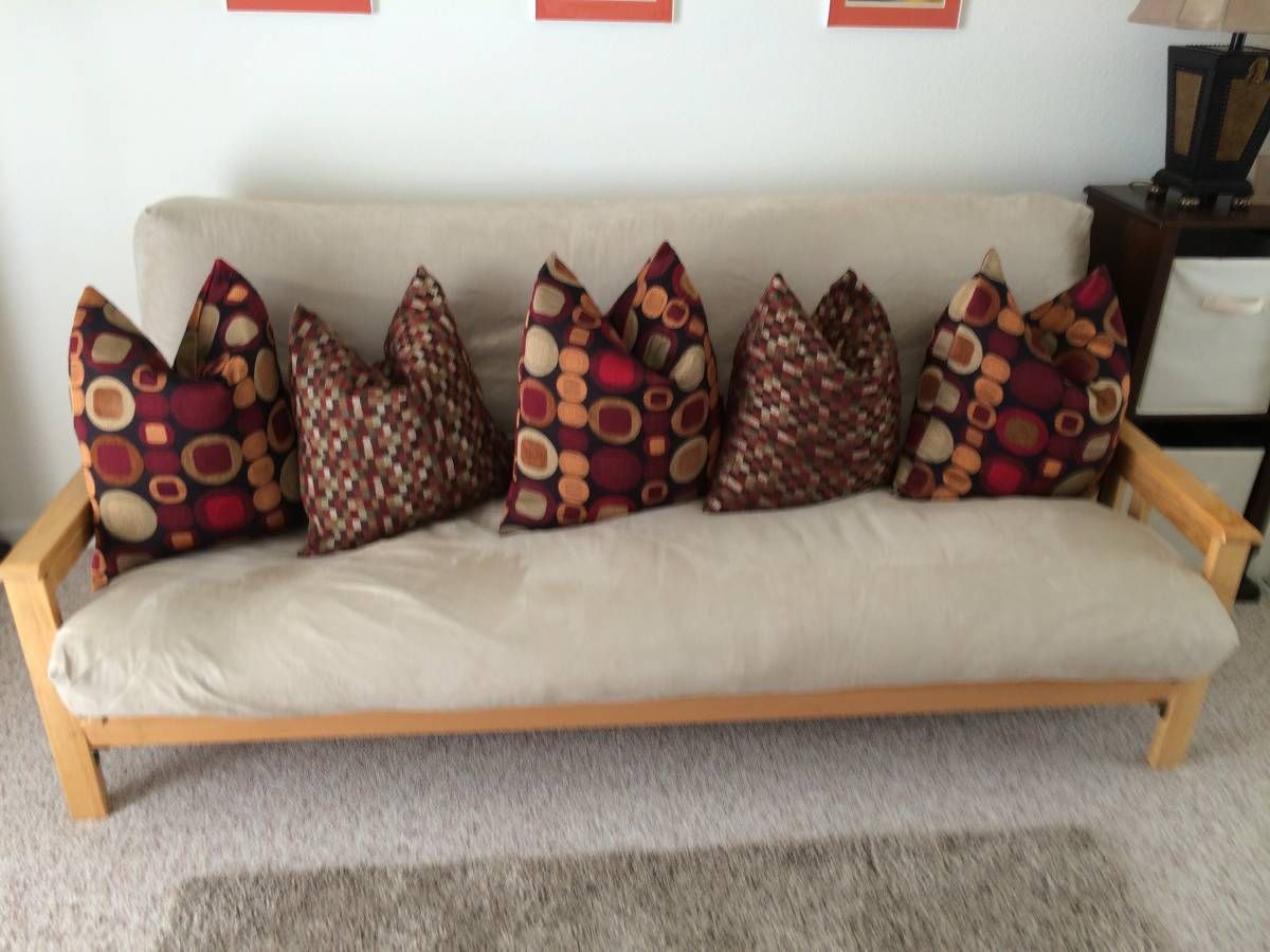 accessorize your futon package with contrasting accent pillows this
