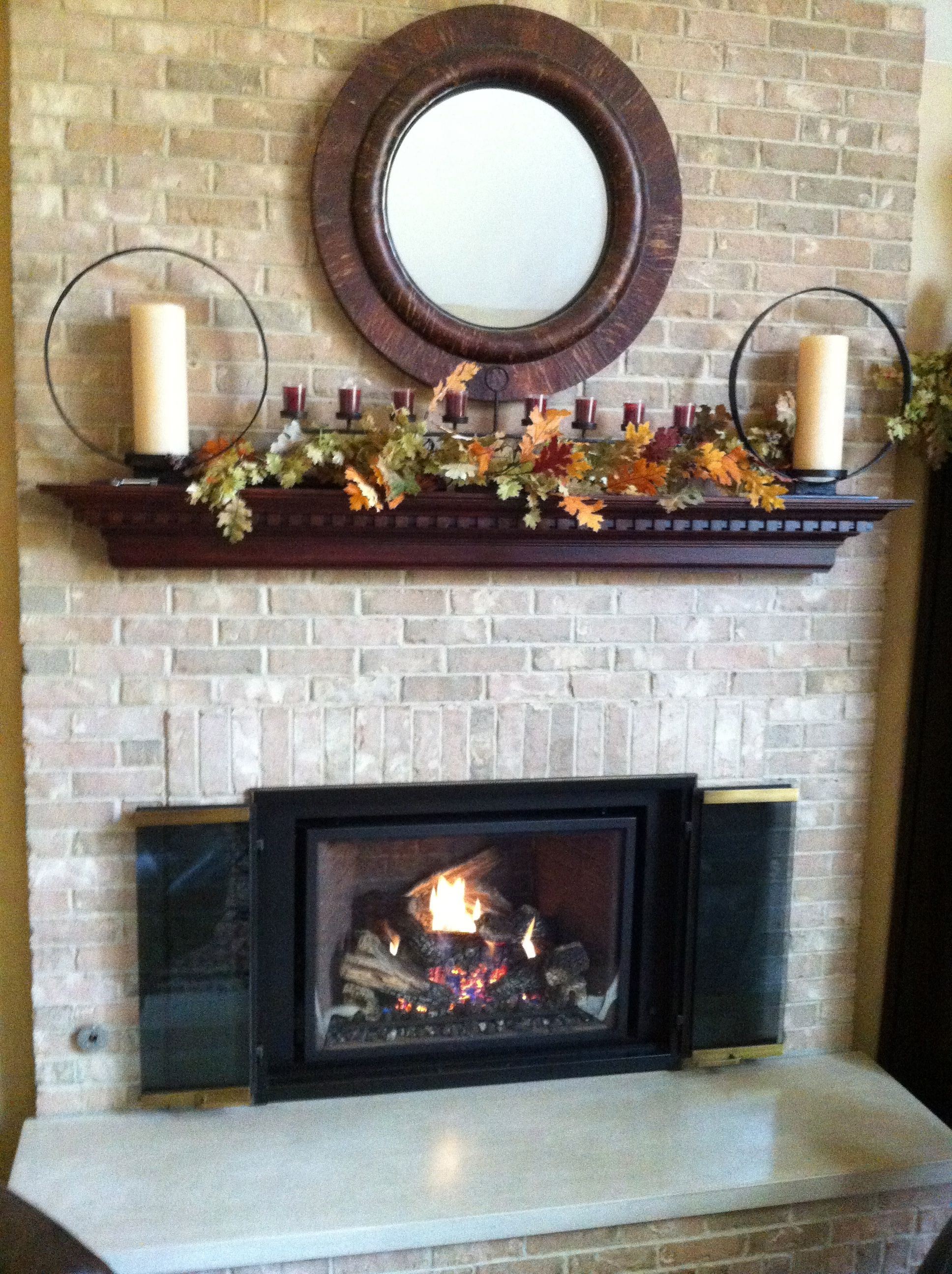 Gas Burning Fireplace Custom Cherry Mantel Marble Hearth