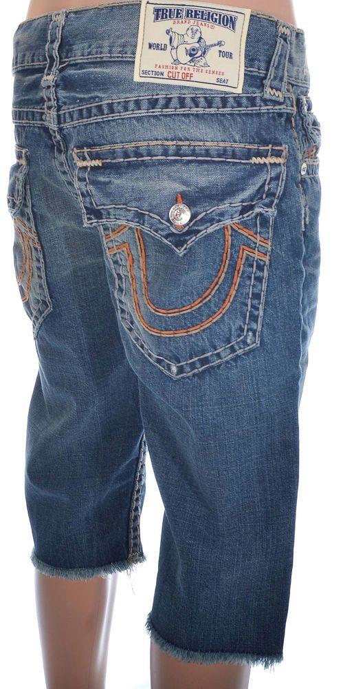 ce2221199 True Religion Mens Shorts Jeans Size 31 Straight With Flaps Cutoff NWT  $312.00 #TrueReligion #Denim