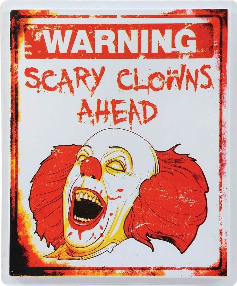 scary clown warning sign halloween prop - Scary Clown Halloween Decorations