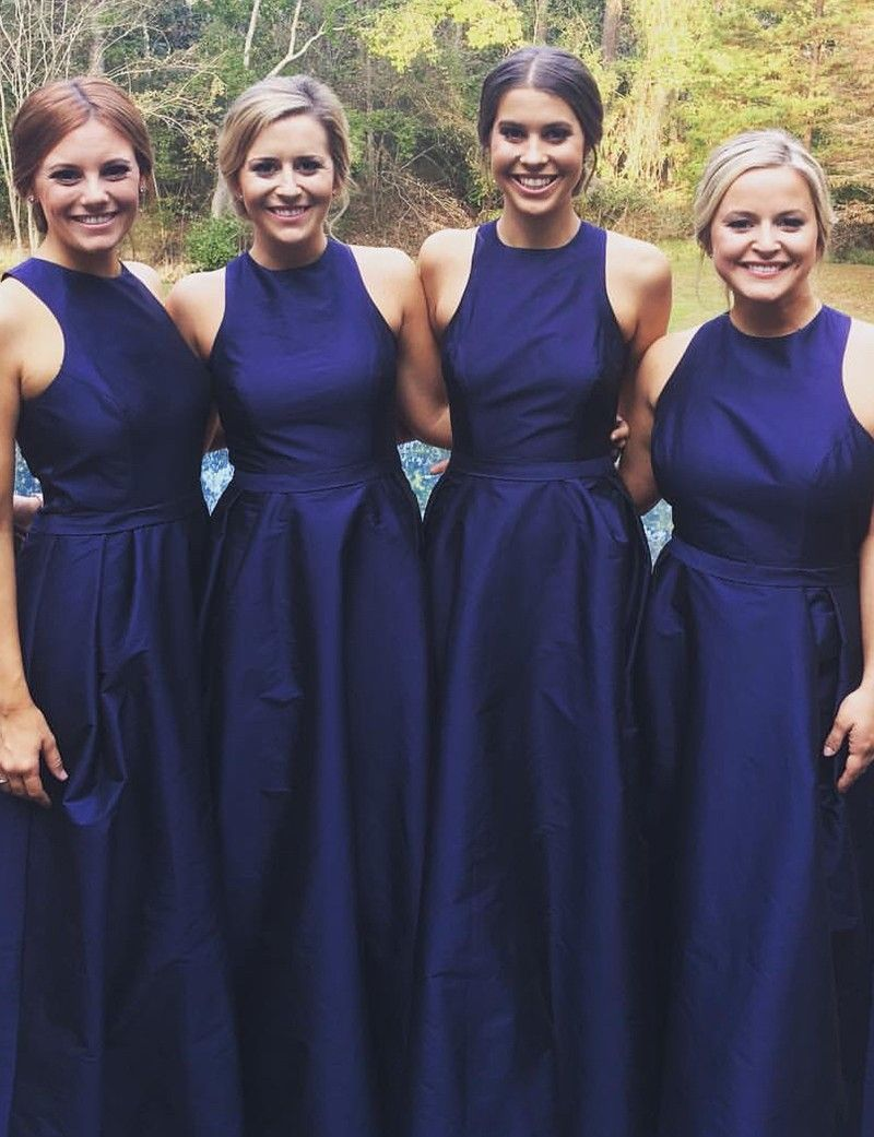Simple jewel sleeveless long dark blue bridesmaid dress with sash