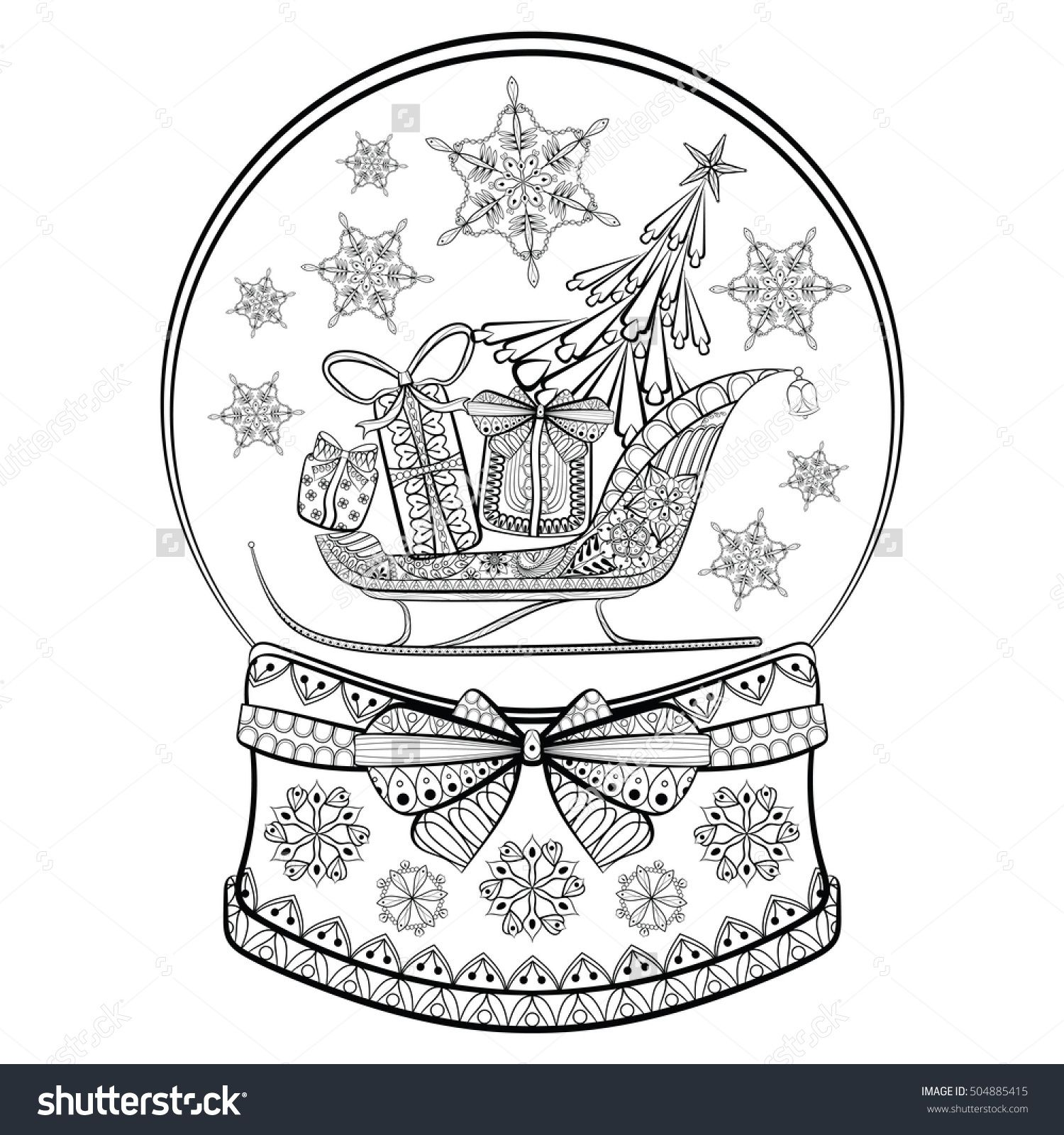 Hand Drawn Snow Globe With Sledge Christmas Tree And T