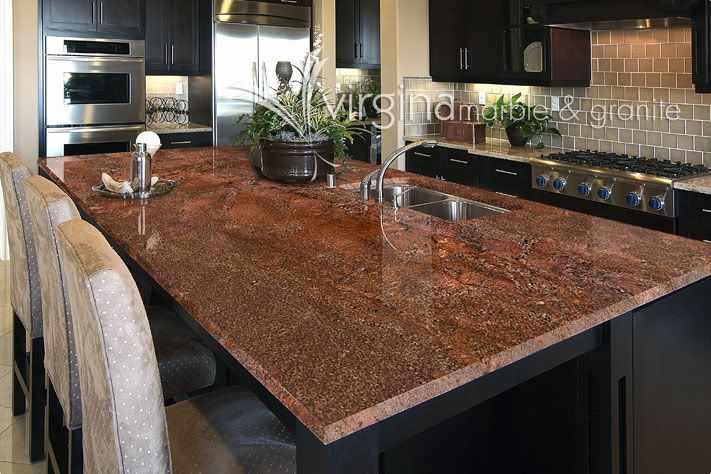Looks Like Our Granite.. Looks Much Better With Dark Cabinets! JUPARANA  BORDEAUX GRANITE