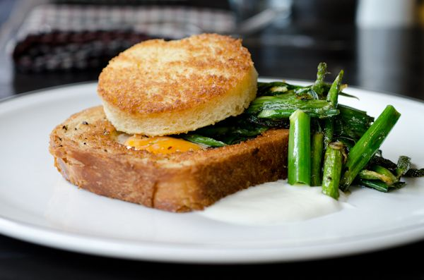 Egg in a Hole: Pullman Bread, Turnip Cream, Asparagus, and Scallion