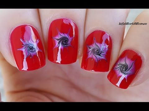 Red Nail Art With Drag Marble Swirl Design Using Needle Youtube