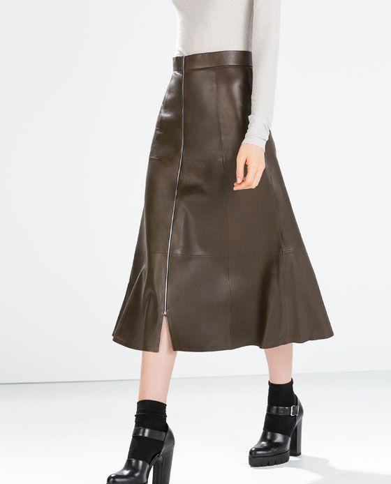uk availability 363f0 84f04 ZARA - DONNA - GONNA PELLE   The best of zara   Leather ...