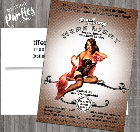 Vintage Pin Up Girl Invitation Bachelorette by InvitingParties
