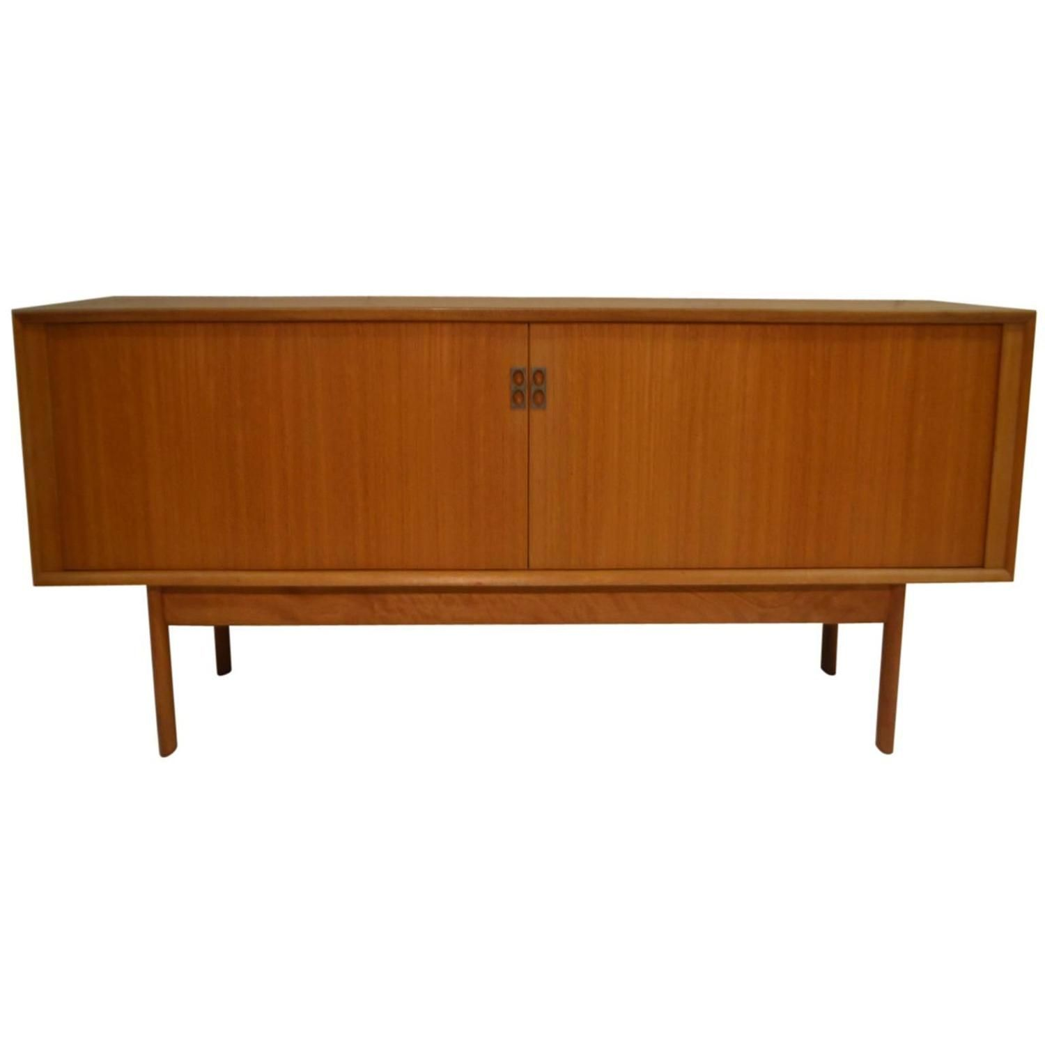 Teak Tambour Door Sideboard with Burlap Door by Arne Vodder for