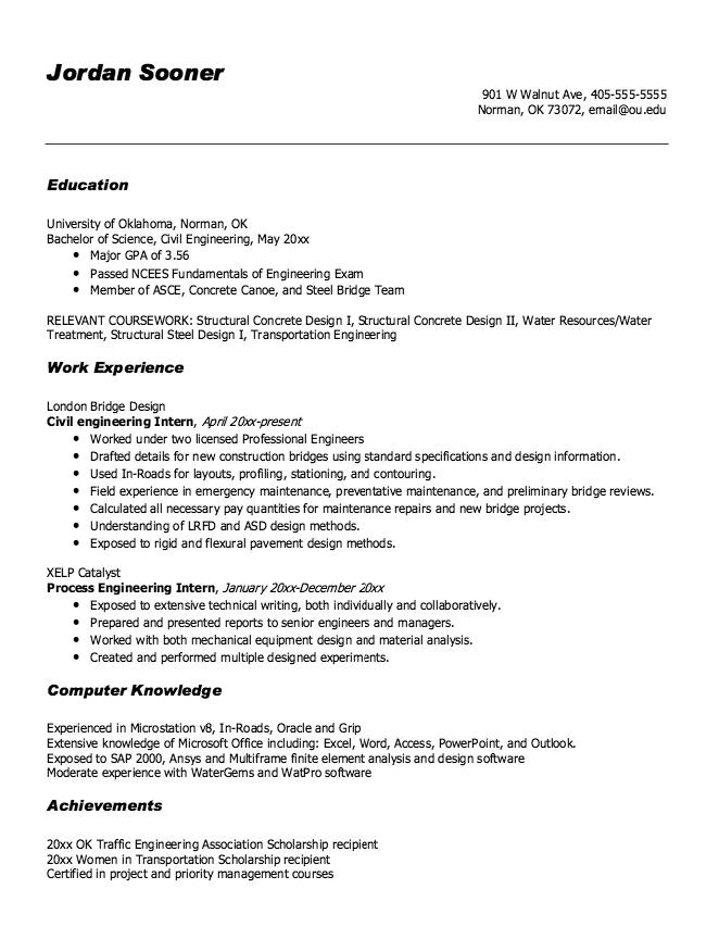 Resume Sample Process Engineering Intern - http://exampleresumecv ...