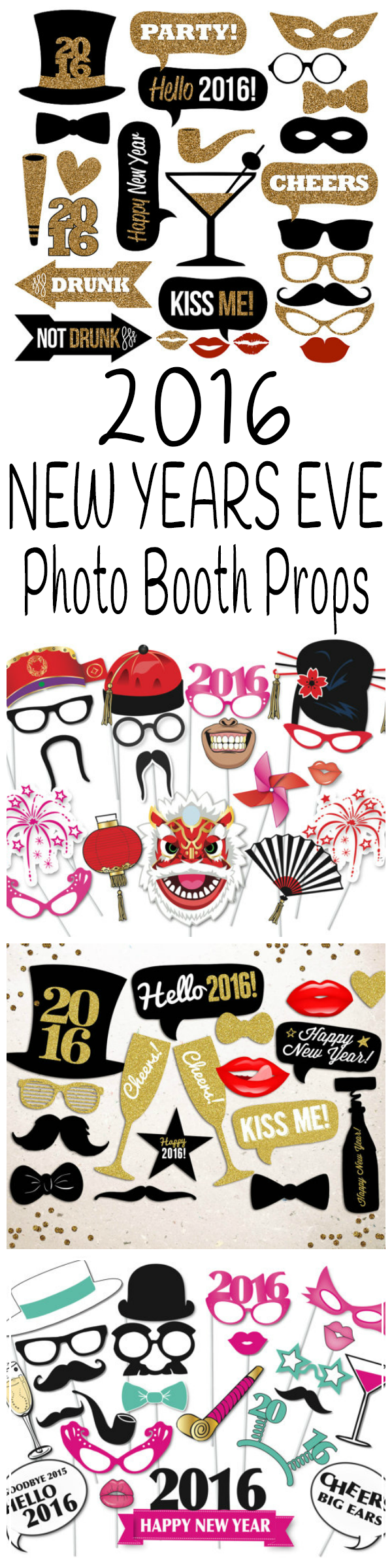 Ring in the new year with these fun and silly 2016 New Years Eve photo booth props!