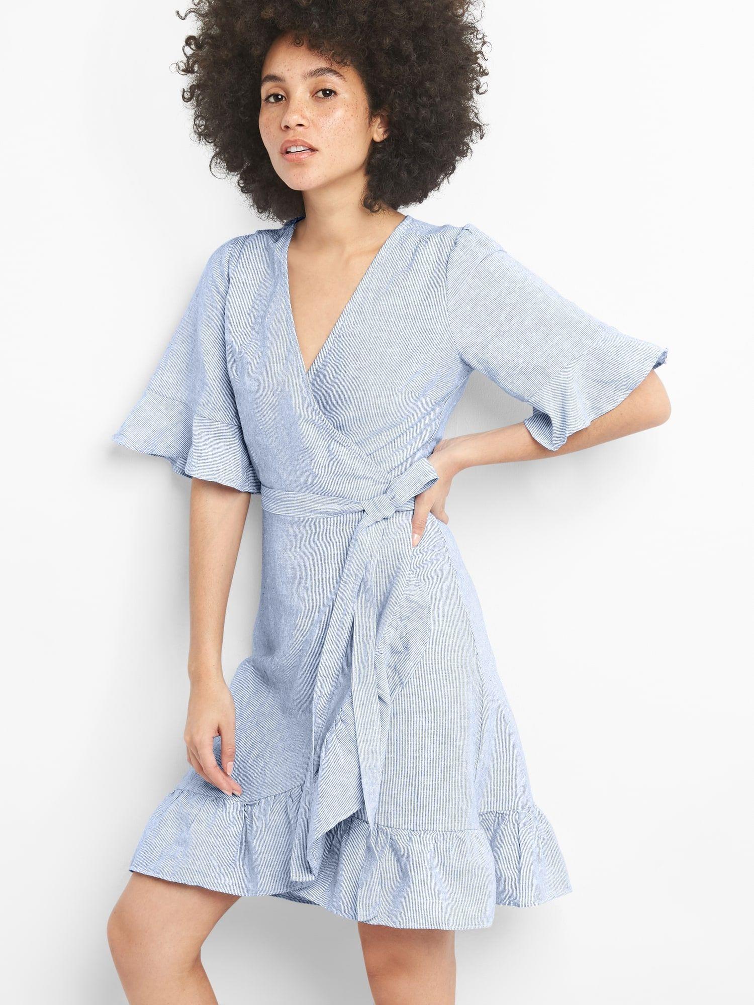 823866ee953 Ruffle Wrap Dress in Linen-Cotton | Gap | wants. | Wrap dress ...
