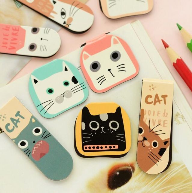 2 pcs/pack Various Lovely Cat Magnet Bookmark Paper Clip School Office Supply Escolar Papelaria Gift Stationery