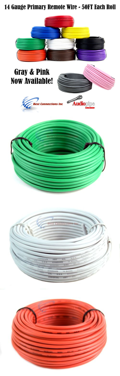 Power and Speaker Wire: 14 Gauge 50 Feet 7 Rolls Audiopipe Primary ...