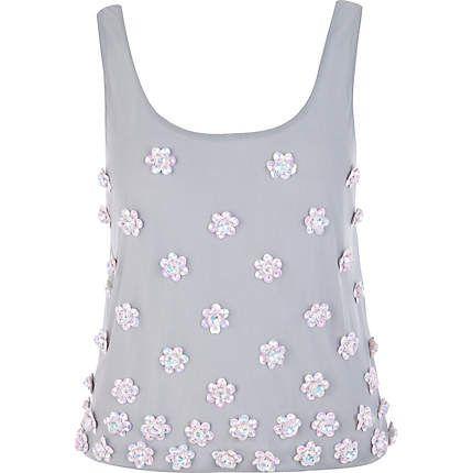 grey 3d flower embellished vest - sleeveless tops - tops - women - River Island