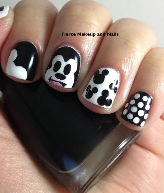 Fierce Makeup and Nails Mickey Mouse Mani (Black and White ...