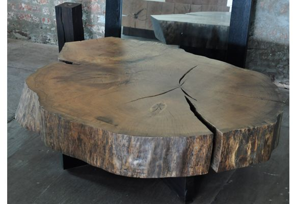 Cracked Open Log Slice Table Decorating Coffee Tables Log Furniture Wood Table
