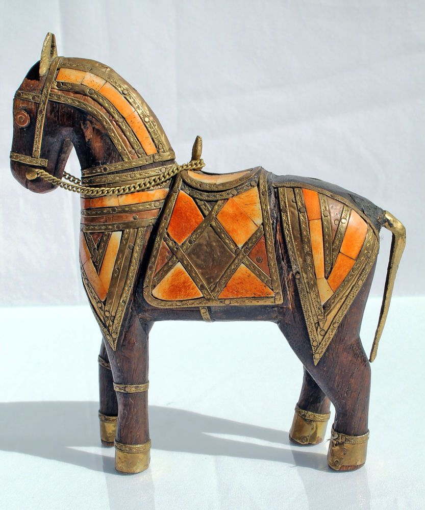 Vintage Hand Carved Wooden Horse with Brass Copper and Bone