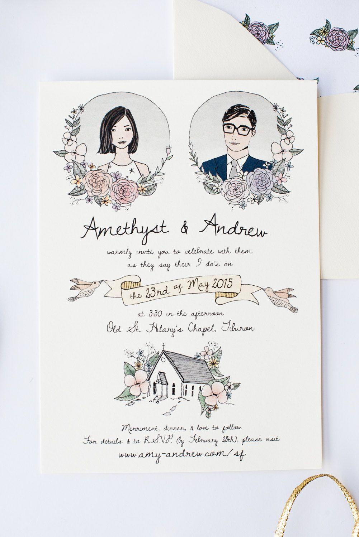 2018 年の illustrated wedding invitation custom hand drawn