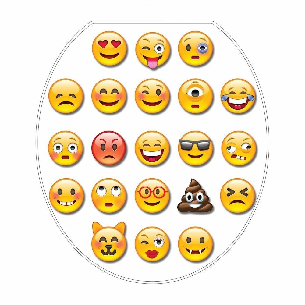 Emoji Toilet Seat Removable Decal Tattoo Elongated White