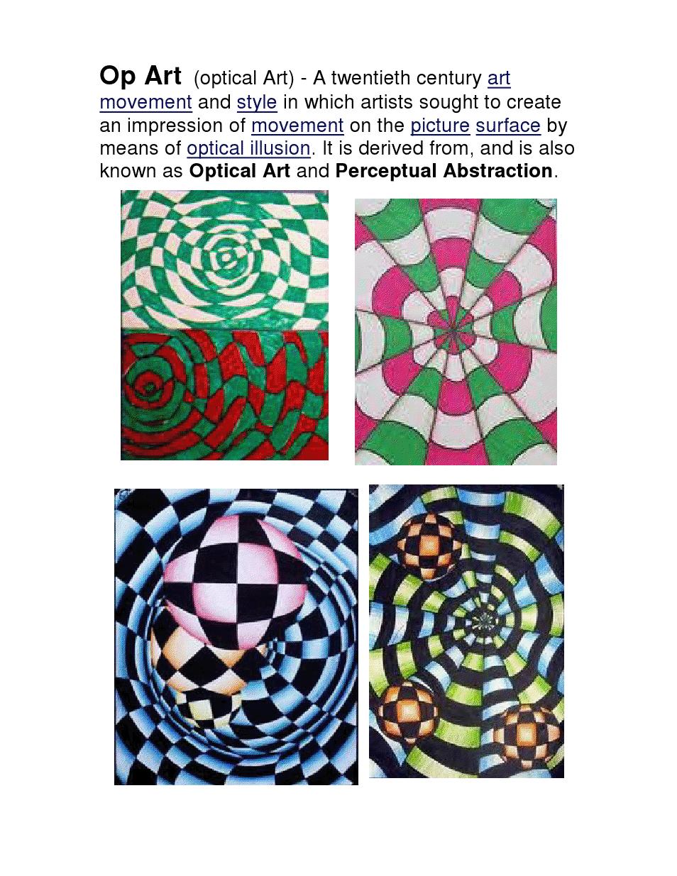 Checkerboard Op Art Lesson | ART LESSON IDEAS | Pinterest | Op art ...