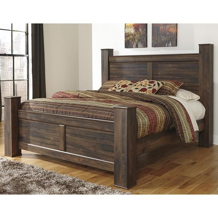 Quinden King Poster Bed in Dark Brown | Nebraska Furniture Mart ...
