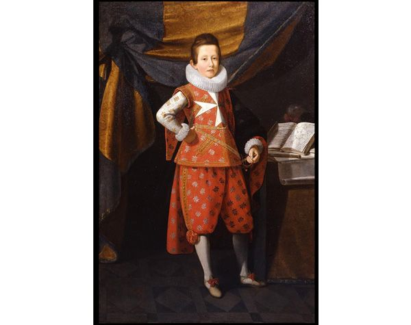 By Justus Sustermans (Anversa 1597- Firenze 1681). Portrait of the young Giovan Carlo de' Medici (1611-1663) as a Knight of Malta, oil on canvas, cm. 175 x 117.