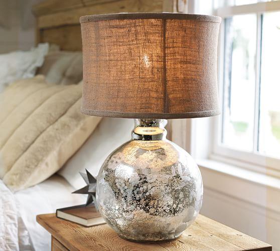 Burlap Flared Drum Lamp Shade Pottery Barn Glass Bedside Table Lamps Mercury Lamp Base Lamp