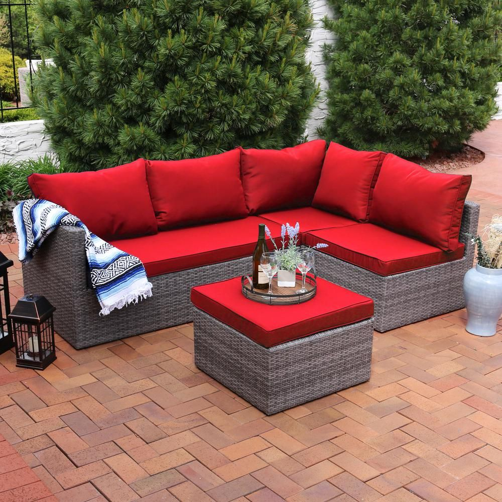 Sunnydaze Decor Port Antonio Gray 4 Piece Wicker Outdoor Sofa