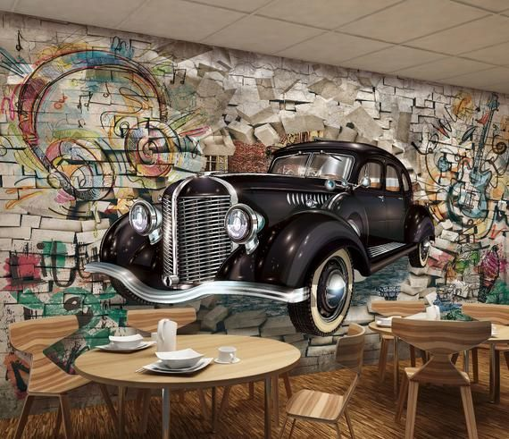 Retro Classic Car Rhrough The Wall 3D Three-Dimensional Restaurant Bar Mural Background Wall , Wall Art Wall poster  Room