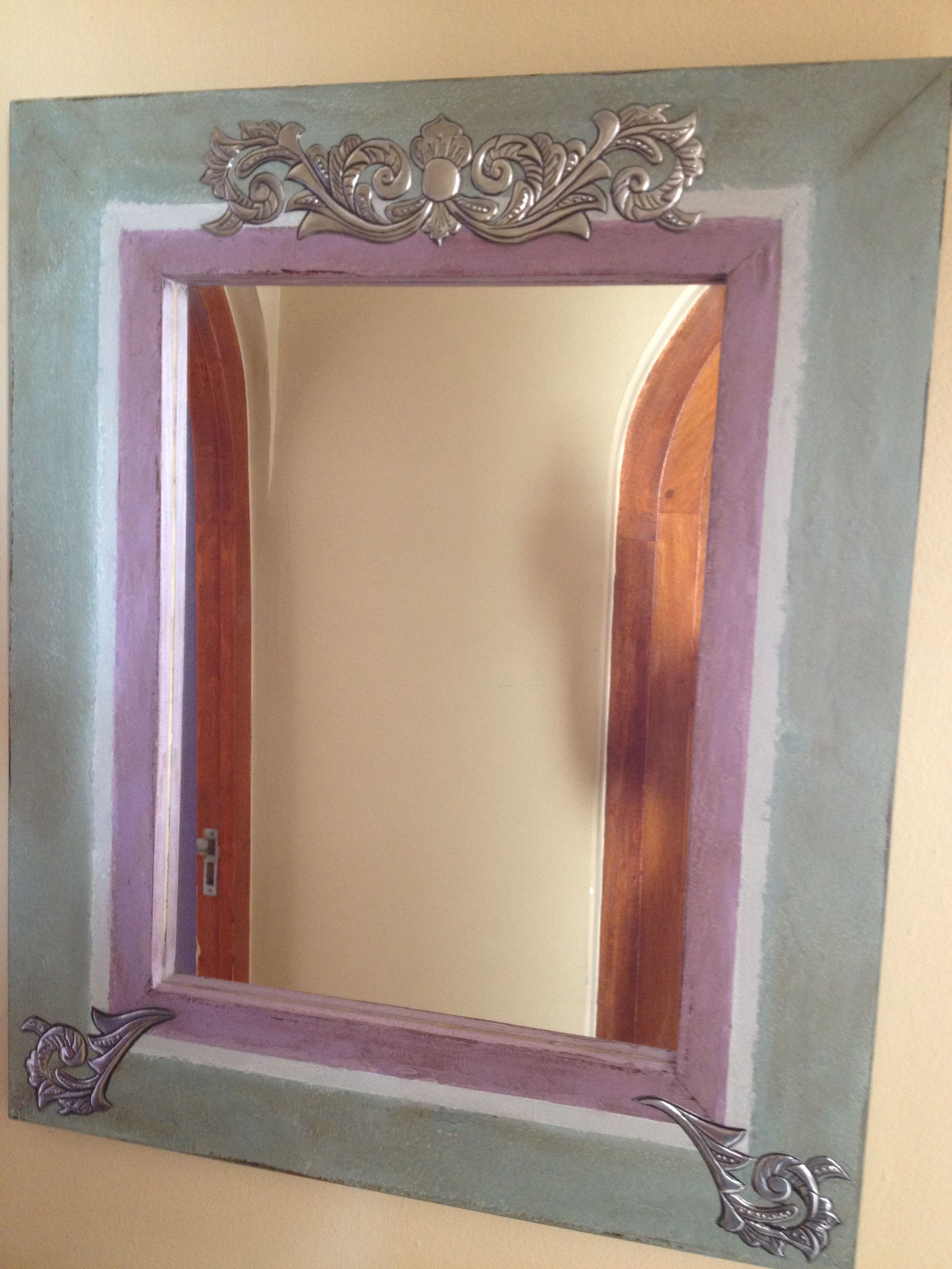 Pewter Detail On Mirror Frame Painted With Chalk Paint