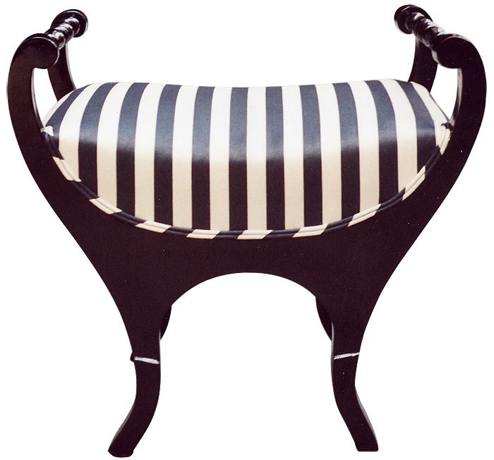 BIEDERMEIER Stool   A unique designed tabouret with a tub-shaped ebonized frame. Padded seat. The upper sides inscrolled and connected with a turned stretcher. The lower part waisted and forming elegantly shaped splayed legs. Austria-Hungary, circa 1830/35.