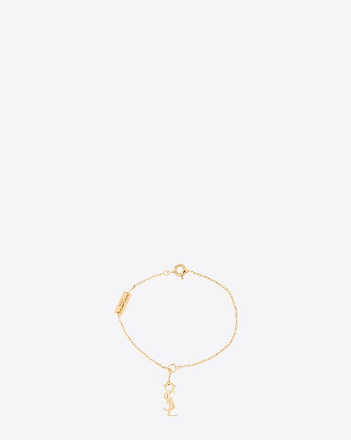 Saint Laurent, Signature Monogram Charm Bracelet in Gold Vermeil