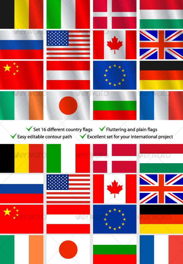 Set 16 different country flags — Vector EPS #symbol #set • Download here → https://graphicriver.net/item/set-16-different-country-flags/90532?ref=pxcr