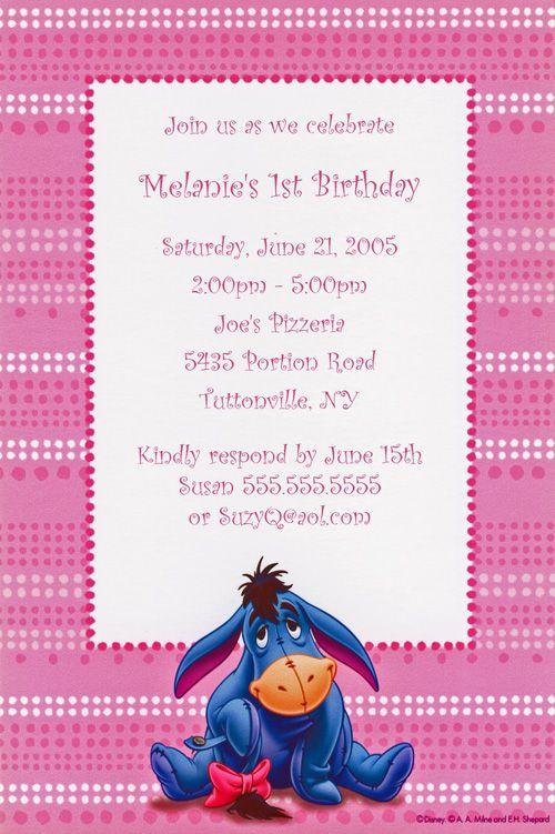 Disneys Eeyore Birthday Party Invitations Winnie the Pooh – Eeyore Birthday Cards