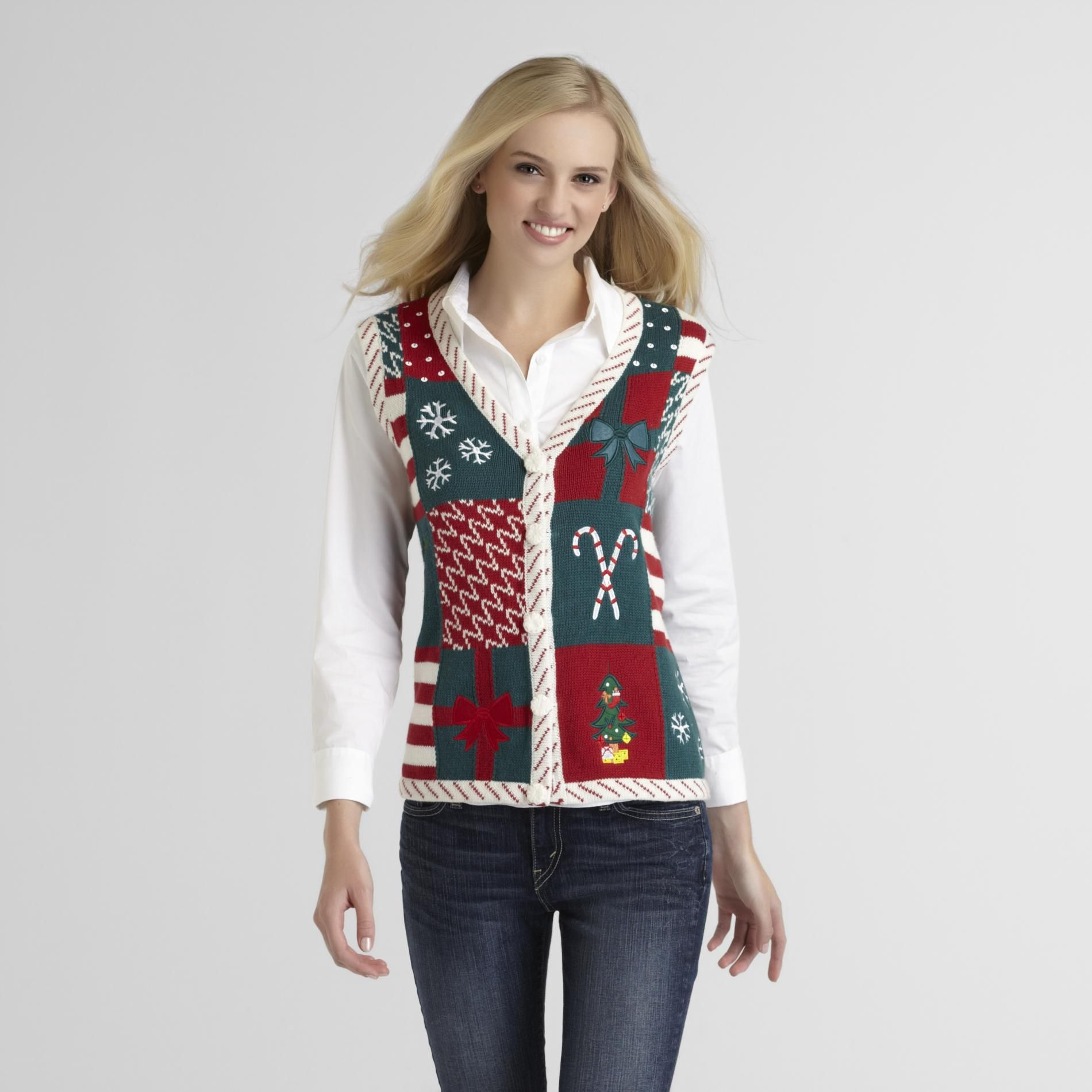 Holiday Editions- -Women's Christmas Sweater Vest - Embroidered ...