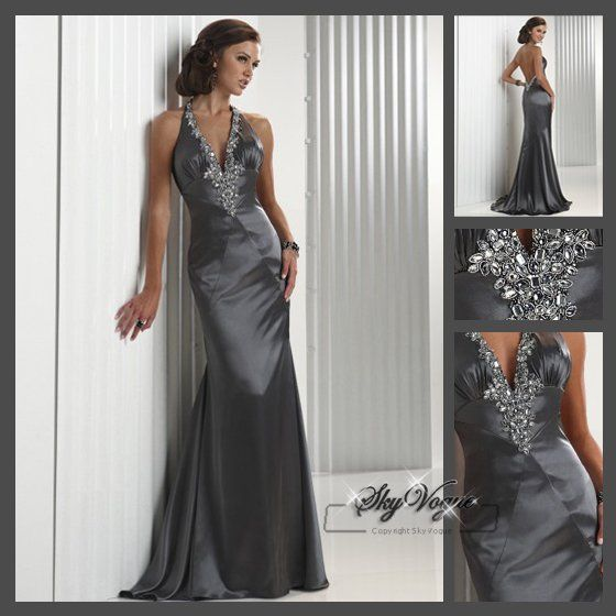 Fast-Free-Shipping-FM028-Grey-Satin-Halter-Strap-Brdal-Gown-Gown ...