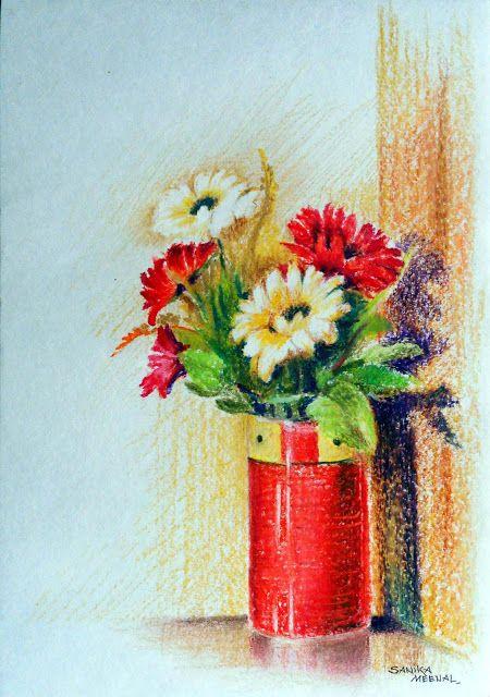 Arteworld By Sanika Dhanorkar 107 Oil Pastel Sketch The Flower