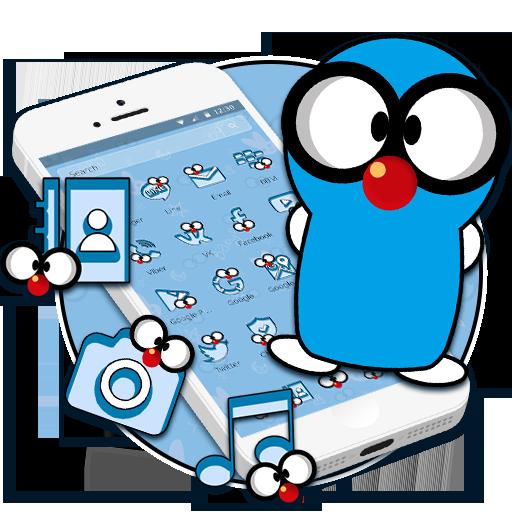 Enjoy this funny n cute blue cartoon 2d theme by