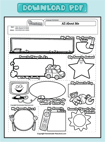 Fun and Interactive Preschool Worksheets | All about me ...
