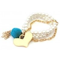 Bracelet with Pearls, Pompon and Heart Pendant