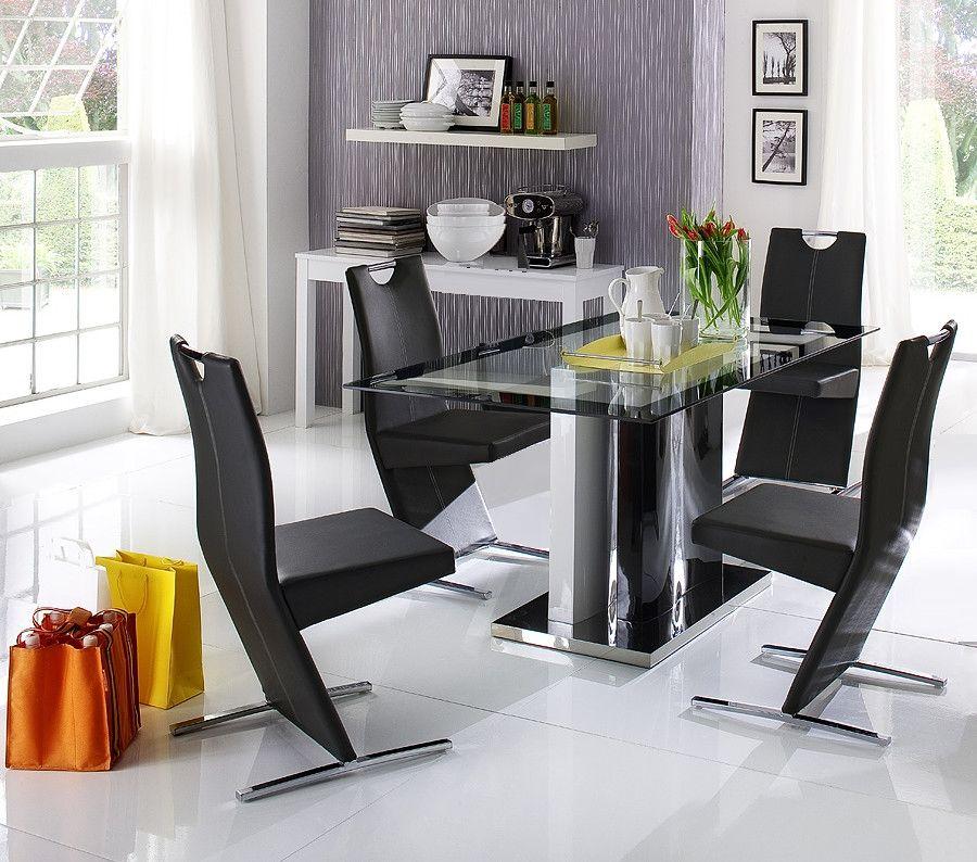 Essimmer Set Tisch 160 X 90 Cm Mit 4 Schwingern Kunstleder Schwarz