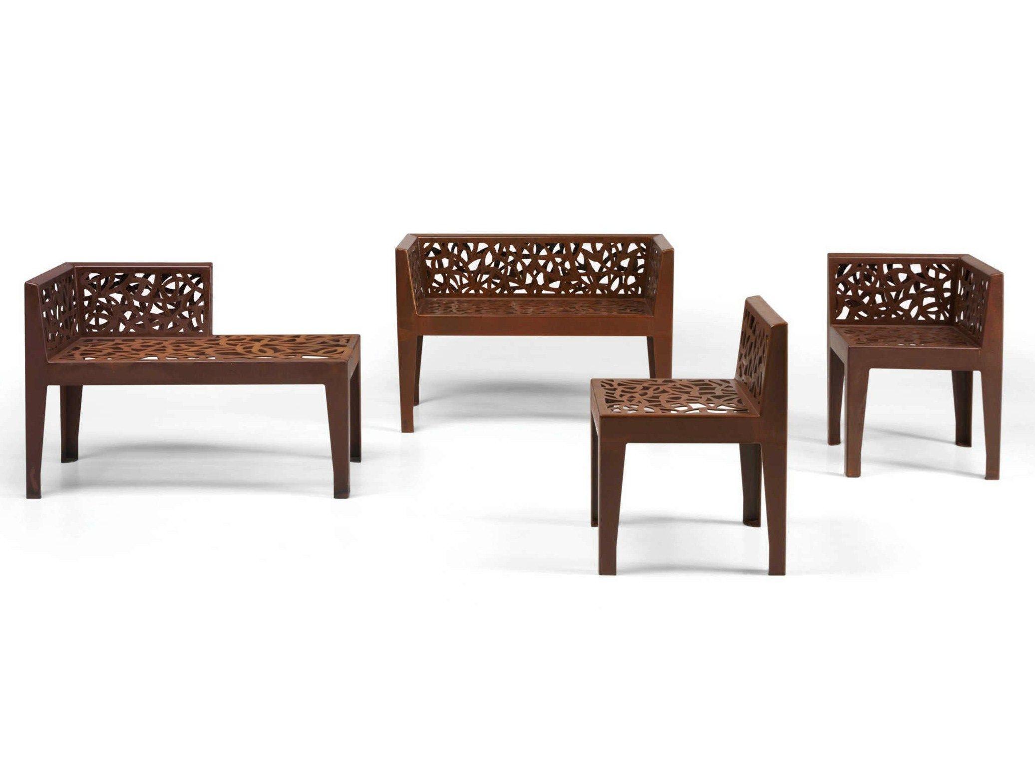 Corten™ garden chair Color Corten Style Collection by Metalco | design Marc Aurel