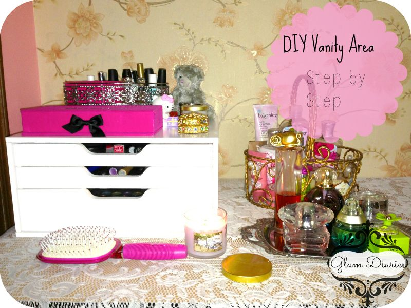 diy vanity area ideas cute girly and affordable glam diaries blog diy. Black Bedroom Furniture Sets. Home Design Ideas