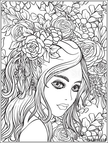 A Young Beautiful Girl With Wreath Of Flowers On Her Head Coloring Page