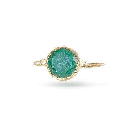 Like the beautiful goddess of Brazilian mythology, the Yara bracelet will no doubt enhance your wrist. The large green jade center stone is bezel set in gold vermeil on a slim vermeil bangle.