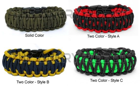 Paracord Survival Bracelet King Cobra Black And Neon Green