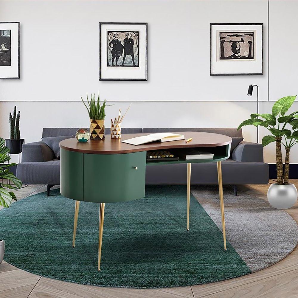 Gebogener Schreibtisch In Grun Computertisch Mit Regalen Und Aufbewahrung In 2021 Curved Office Desk Computer Desk With Shelves Desk Shelves