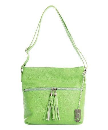 Look what I found on #zulily! Green Tassel Zipper Leather Crossbody Bag #zulilyfinds